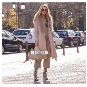 NWT ZARA BELTED COAT WITH FAUX FUR COLLAR